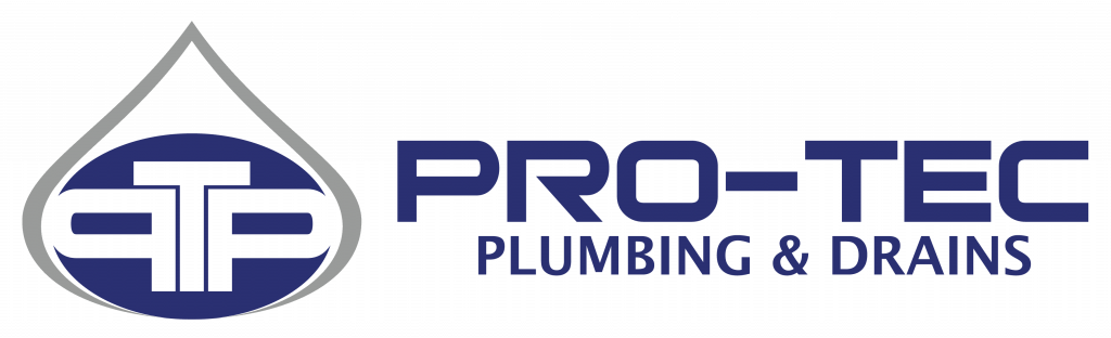 Pro-Tec Plumbing & Drains logo in navy blue and grey on a transparent background