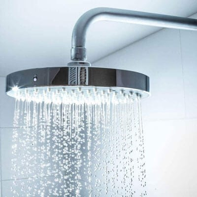 Rain shower head with a whole-home water filtration system